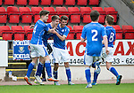 St Johnstone Academy v Manchester Utd Academy&hellip;.06.05.16  McDiarmid Park, Perth<br />David Brown celebrates his goal<br />Picture by Graeme Hart.<br />Copyright Perthshire Picture Agency<br />Tel: 01738 623350  Mobile: 07990 594431