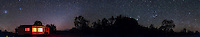 A 360&deg; panorama of the southern sky, early evening, in early December 2012, from Timor Cottage, near Coonabarabran, NSW, Australia. The Magellanic Clouds are at left, the Zodiacal Light to the right of the cottage, the Zodiacal Band extending to the right over Timor Rock and into Taurus just above the Rock. The Pleiades and Jupiter are just above Timor Rock. Orion is to the right of the Rock, rising and upside down. The southern Milky Way in Puppis and Vela is just coming up at right. .This is an 8-section panorama taken with the Canon 60Da and 10-22mm lens at 10mm, at f/3.5 for 1 minute each at ISO 3200. Stitched with Photoshop CS6.