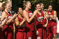 3 April 2008: The team departs for the Final Four and is sent off by fans and staff of the Athletic Department near Maples Pavilion in Stanford, CA. Pictured are Kayla Pedersen, Rosalyn Gold-Onwude, Jayne Appel, Jillian Harmon, Michelle Harrison and Cissy Pierce.