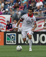 DC United midfielder Dwayne De Rosario (7) on the attack. In a Major League Soccer (MLS) match, DC United defeated the New England Revolution, 2-1, at Gillette Stadium on April 14, 2012.