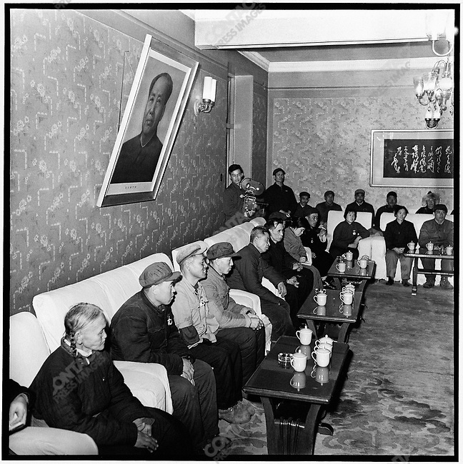 Leaders of Heilongjiang's revolutionary committee, receive representatives of the province's Conference of Socialism's Advanced Work Groups and Model Workers at the North Plaza Hotel.  Harbin, 10 March 1973