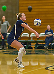 1 November 2015: Saint Joseph College Lady Bear and Middle Hitter Lauren GaNun, a Senior from Breezy Point, NY, bumps against the Yeshiva University Maccabees at SUNY Old Westbury in Old Westbury, NY. The Bears shut out the Maccabees 3-0 in NCAA women's volleyball, Skyline Conference play. Mandatory Credit: Ed Wolfstein Photo *** RAW (NEF) Image File Available ***