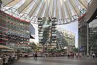 Courtyard of the Sony Center, designed by Helmut Jahn, on Potsdamer Platz, Berlin, Germany. The building complex opened in 2000 and is home to Sony's European headquarters. Picture by Manuel Cohen
