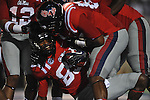 Ole Miss wide receiver Ja-Mes Logan (85) recovers an Ole Miss quarterback Bo Wallace (14) fumble in the end zone for a third quarter touchdown at Vaught-Hemingway Stadium in Oxford, Miss. on Saturday, September 1, 2012.