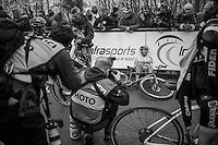 Nadja Heigl's (AUT) fatigue photographed<br /> <br /> UCI Cyclocross World Cup Namur/Belgium 2016