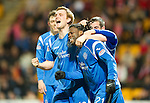 St Johnstone v Brechin....22.03.11  Scottish Cup Quarter Final replay.Collin Samuel celebrates his goal with Liam Craig and Peter MacDonald.Picture by Graeme Hart..Copyright Perthshire Picture Agency.Tel: 01738 623350  Mobile: 07990 594431