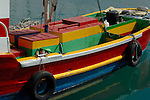 Colourful fishing boat, Corralejo harbour, Fuerteventura, Canary Islands, Spain. May 2007.
