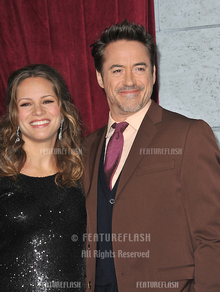 "Robert Downey Jr. & wife Susan Downey at the Los Angeles premiere of his new movie ""Sherlock Holmes: A Game of Shadows"" at the Village Theatre, Westwood..December 6, 2011  Los Angeles, CA.Picture: Paul Smith / Featureflash"