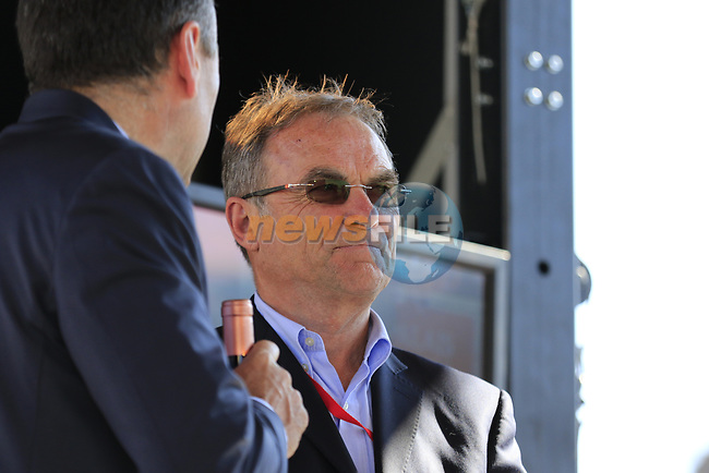 Bernhard Hinault ASO at the Team Presentation for the upcoming 115th edition of the Paris-Roubaix 2017 race held in Compiegne, France. 8th April 2017.<br /> Picture: Eoin Clarke | Cyclefile<br /> <br /> <br /> All photos usage must carry mandatory copyright credit (&copy; Cyclefile | Eoin Clarke)