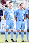 13 November 2011: North Carolina's Billy Schuler (10) and Scott Goodwin (11). The University of North Carolina Tar Heels defeated the Boston College Eagles 3-1 at WakeMed Stadium in Cary, North Carolina in the Atlantic Coast Conference Men's Soccer Tournament championship game.