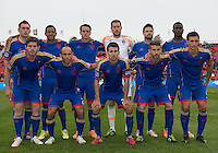 Toronto, Ontario - April 12, 2014: The starting eleven for the Colorado Rapids in a game between the Colorado Rapids and Toronto FC at BMO Field in Toronto.<br />