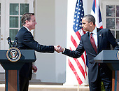 United States President Barack Obama and Prime Minister David Cameron of Great Britain shake hands after opening remarks at a joint press conference in the Rose Garden of the White House in Washington, D.C. on Wednesday, March 14, 2012.  The two leaders took questions on Afghanistan, Iran, and the economy..Credit: Ron Sachs / CNP
