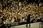 "Senator Barack Obama, Democratic presidential candidate, gives a campaign speech at the ""Key Arena"" in the Seattle Center, Seattle, Washington, February 7, 2008."