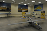 "UAVs on display at a show room of ""Elbit Systems"" in Haifa, northern Israel. Elbit is a manufacturer of defense electronic systems and integrated battle systems for air, sea, land and space."