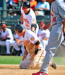 13 March 2009: Baltimore Orioles' catcher Adam Donachie catches his breath after sliding home safely during a Spring Training game against the St. Louis Cardinals at Fort Lauderdale Stadium in Fort Lauderdale, Florida. The Cardinals defeated the Orioles 6-5 in the Grapefruit League matchup. Mandatory Photo Credit: Ed Wolfstein Photo