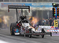 Apr 29, 2016; Baytown, TX, USA; NHRA top fuel driver Scott Palmer during qualifying for the Spring Nationals at Royal Purple Raceway. Mandatory Credit: Mark J. Rebilas-USA TODAY Sports