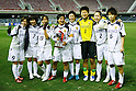INAC Kobe Leonessa team group, FEBRUARY 2, 2012 - Football / Soccer : (L-R) Nahomi Kawasumi, Ji So-Yun, Emi Nakajima, Emi Nakajima, Yukari Kinga, Ayumi Kaihori, Junko Kai, Chiaki Minamiyama of INAC Kobe Leonessa with the trophy after the Charity match between FC Barcelona Femenino 1-1 INAC Kobe Leonessa at Mini Estadi stadium in Barcelona, Spain. (Photo by D.Nakashima/AFLO) [2336]