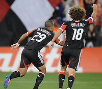 D.C. United forward Maicon Sanrtos (29) celebrates his score in the 11th minute of the game. D.C. United defeated The Houston Dynamo 3-2 at RFK Stadium, Saturday April 28, 2012.
