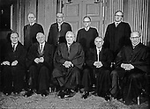 """The 9 Justices of the United States Supreme Court posed for their official """"family """" group photo at the U.S. Supreme Court in Washington, D.C. on Monday, April 24, 1972. Front row, left to right: Associate Justice Potter Stewart; Associate Justice William O. Douglas; Chief Justice of the United States Warren E. Burger; Associate Justice William J. Brennan, Jr; and Associate Justice Byron R. White.  Back row, left to right: Associate Justice Lewis F. Powell, Jr.; Associate Thurgood Marshall; Associate Justice Harry A. Blackmun; and Associate Justice William H. Rehnquist..Credit: Benjamin E. """"Gene"""" Forte / CNP"""
