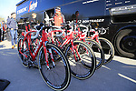 Trek-Segafredo team bikes lined up at the team bus before the start of Gent-Wevelgem in Flanders Fields 2017, running 249km from Denieze to Wevelgem, Flanders, Belgium. 26th March 2017.<br /> Picture: Eoin Clarke | Cyclefile<br /> <br /> <br /> All photos usage must carry mandatory copyright credit (&copy; Cyclefile | Eoin Clarke)