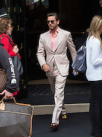 Bruce Jenner & Scott Disick leave the George V Hotel in Paris to attend the wedding in Florence