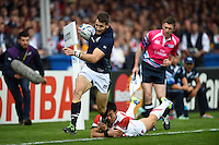 Tommy Seymour of Scotland looks to get past Kenki Fukuoka of Japan. Rugby World Cup Pool B match between Scotland and Japan on September 23, 2015 at Kingsholm Stadium in Gloucester, England. Photo by: Patrick Khachfe / Onside Images