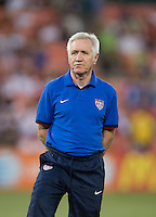 USWNT head coach Tom Sermanni watches his team before an international friendly at RFK Stadium in Washington, DC.  The USWNT defeated Mexico, 7-0.