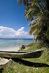 A Cayuko, or dug-out canoe sits on Isla Pelikano, San Blas Islands, Kuna Yala, Panama