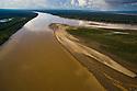 Bolivia, Beni Department, aerial view of Madre De Dios River winding through pristine Amazonian rainforest