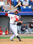 6 March 2011: Washington Nationals' outfielder Roger Bernadina in action during a Spring Training game against the Atlanta Braves at Space Coast Stadium in Viera, Florida. The Braves shut out the Nationals 5-0 in Grapefruit League action. Mandatory Credit: Ed Wolfstein Photo