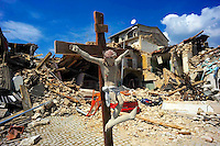 L'Aquila 10 Aprile 2009.Onna, a small town some 10 kilometers from L'Aquila, epicentre of an earthquake.The Christ of Onna...