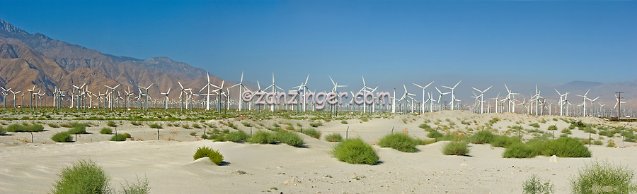 Palm Springs California, San Gorgonio, Pass, Wind, Farm, Turbines Panorama CGI Backgrounds, ,Beautiful Background