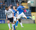 Raith Rovers v St Johnstone...12.07.14  Pre-Season Friendly<br /> Chris Millar gets above Calum Elliot<br /> Picture by Graeme Hart.<br /> Copyright Perthshire Picture Agency<br /> Tel: 01738 623350  Mobile: 07990 594431