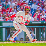 23 May 2015: Philadelphia Phillies outfielder Odubel Herrera watches one go foul down the first baseline during game action against the Washington Nationals at Nationals Park in Washington, DC. The Phillies defeated the Nationals 8-1 in the second game of their 3-game weekend series. Mandatory Credit: Ed Wolfstein Photo *** RAW (NEF) Image File Available ***