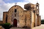 Travel stock photo of an Ancient orthodox church Timios Stavros in Parekklisia village near Limassol in Cyprus Horizontal