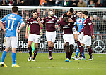 Hearts v St Johnstone&hellip;05.11.16  Tynecastle   SPFL<br />Prince Buaben celebrates his goal with Bjorn Johnsen<br />Picture by Graeme Hart.<br />Copyright Perthshire Picture Agency<br />Tel: 01738 623350  Mobile: 07990 594431