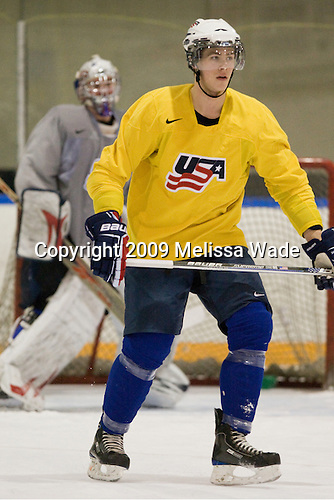 AJ Jenks (USA - 22) - Team USA practiced at the Agriplace rink on Monday, December 28, 2009, in Saskatoon, Saskatchewan, during the 2010 World Juniors tournament.
