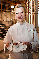 Chef Anna Olsen displays Miniature Choucroute Garni in The Atrium, or tank room, at Jackson Triggs. January 14, 2012. © Allen McEachern.