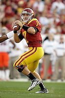 September 17, 2011:  Trojans quarterback #7 Matt Barkley makes another touchdown throw during the NCAA College football game for the Big East Syracuse Orange visiting the Pac-12 USC Trojans for the first time since 1924 inside the Los Angeles Memorial Coliseum. Barkley would go on to break a school record with 5 touchdown passes to 5 different receivers.