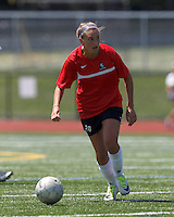 Aztec MA forward Jill Kinter (7) on the attack. In a Women's Premier Soccer League (WPSL) match, Aztec MA defeated CFC Passion, 4-0, at North Reading High School Stadium on July 1, 2012.