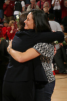 STANFORD, CA - FEBRUARY 7:  Jennifer Azzi hugs Tara VanDerveer as members of the 1990 National Championship team reunite during Stanford's 77-39 win over USC on February 7, 2010 at Maples Pavilion in Stanford, California.