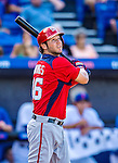 23 February 2013: Washington Nationals first baseman Micah Owings in Spring Training action against the New York Mets at Tradition Field in Port St. Lucie, Florida. The Mets defeated the Nationals 5-3 in their Grapefruit League Opening Day game. Mandatory Credit: Ed Wolfstein Photo *** RAW (NEF) Image File Available ***
