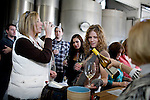 Julie Watts, left,  and Jacquelyn Tobkin, right, try a chardonnay with their friends at Acacia Winery, founded in 1979, in the Carneros region, Napa, Ca., on Saturday, Dec. 5, 2009.