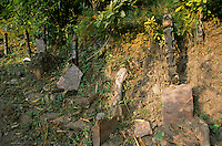 Traditional graves in a cemetery in Rolpa District Nepal