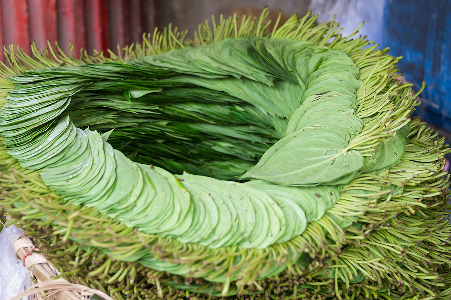 Betel leafs in a stall in the streets of Yangon