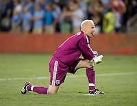 Jimmy Nielsen. Sporting Kansas City won the Lamar Hunt U.S. Open Cup on penalty kicks after tying the Seattle Sounders in overtime at Livestrong Sporting Park in Kansas City, Kansas.