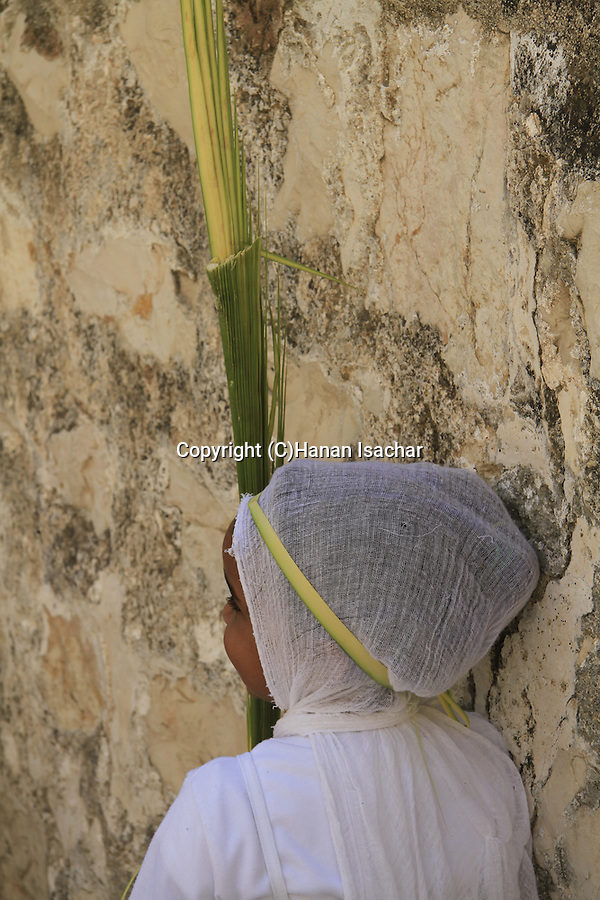 Israel, Jerusalem, a young Ethiopian Orthodox Pilgrim on Palm Sunday at Deir es Sultan, the Church of the Holy Sepulchre