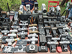 Cameras for sale in a street market, Sofia, Bulgaria