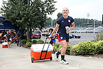 18 August 2014: Amy Rodriguez pulls an ice chest up the ramp to the field. The United States Women's National Team held a training session on Field 4 at WakeMed Soccer Park in Cary, North Carolina.