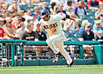 14 September 2008: Cleveland Indians' infielder Jamey Carroll tags up to score Cleveland's second run on a Victor Martinez fly-ball sacrifice to left field in the first inning against the Kansas City Royals at Progressive Field in Cleveland, Ohio. The Royal defeated the Indians 13-3 to take the 4-game series three games to one...Mandatory Photo Credit: Ed Wolfstein Photo